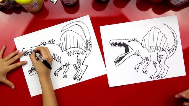 How To Draw A Spinosaurus Dinosaur