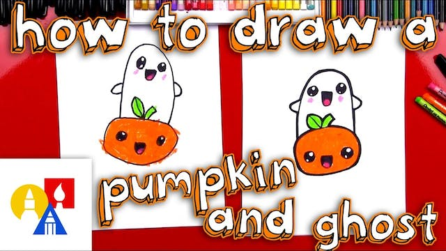 How To Draw A Cartoon Pumpkin And Ghost