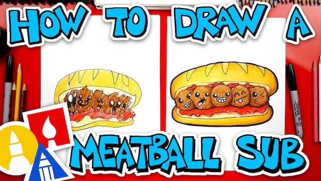 How To Draw A Funny Meatball Sub