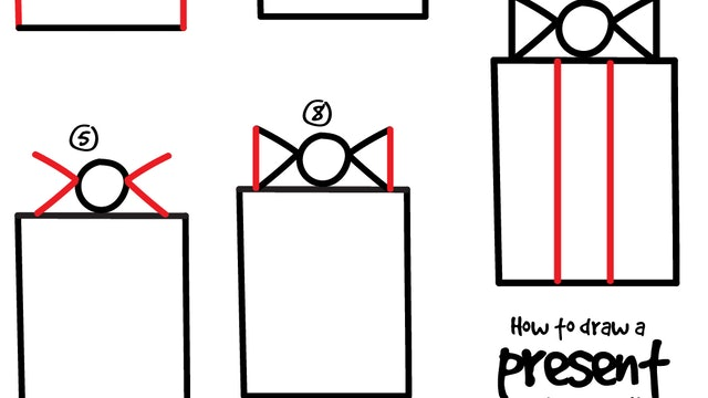 How To Draw A Present - Preschool (PRINTABLE)
