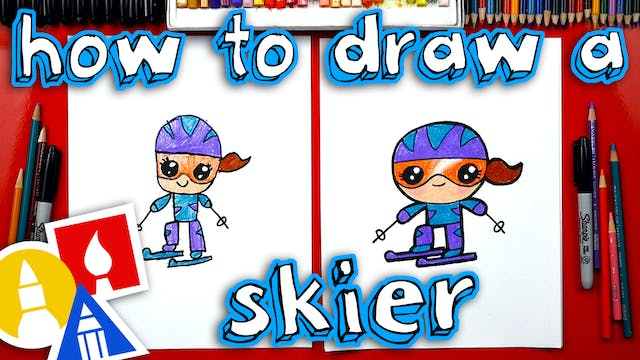 How To Draw A Cartoon Skier