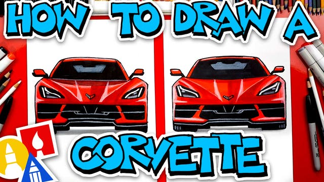 How To Draw A Corvette C8 2020 (Front...