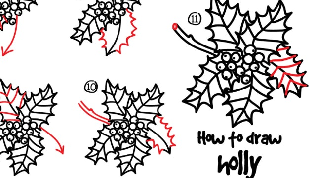 How To Draw Holly (PRINTABLE)