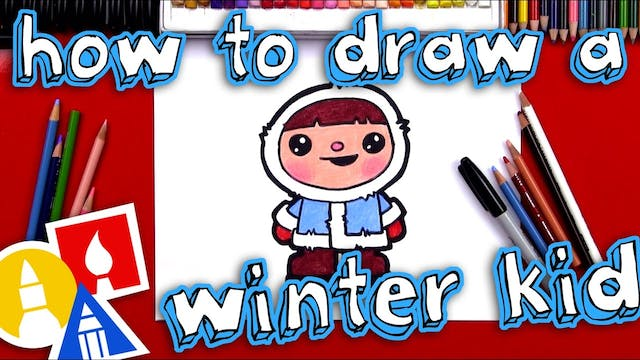 How To Draw A Cartoon Winter Kid