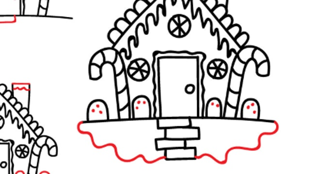 How To Draw A Gingerbread House (PRINTABLE)