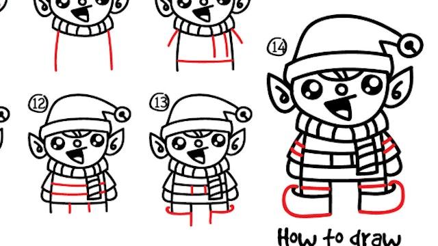 How To Draw A Christmas Cartoon Elf (PRINTABLE)