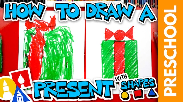 Drawing A Christmas Present With Shapes - Preschool