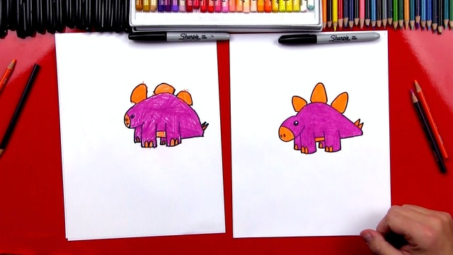 How To Draw A Cartoon Stegosaurus Dinosaur