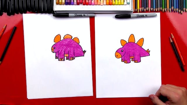 How To Draw A Cartoon Stegosaurus Din...