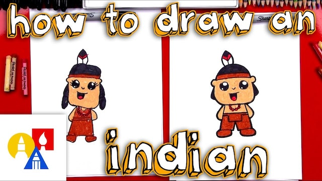 How To Draw A Cartoon Native American In Traditional Clothes (Boy & Girl)