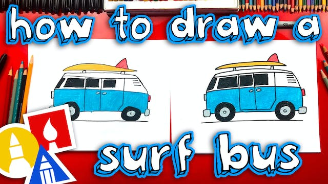 How To Draw A Summer Surf Bus
