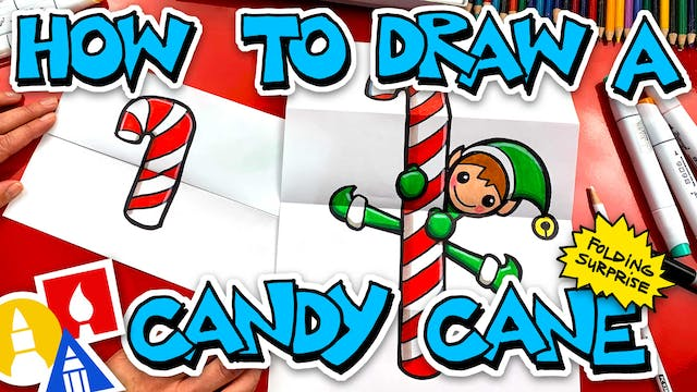 How To Draw A Candy Cane Folding Surp...