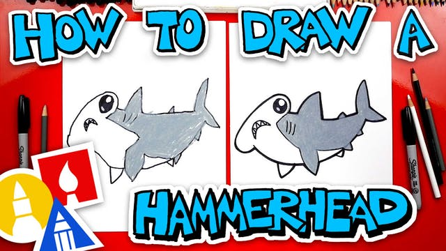 How To Draw A Cartoon Hammerhead Shark