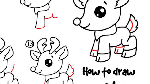 How To Draw Cartoon Rudolph (PRINTABLE)
