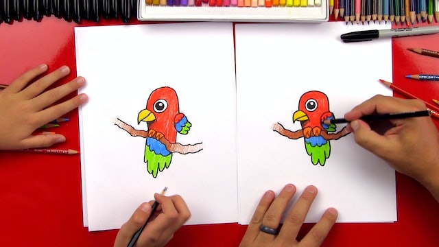 How To Draw A Cartoon Parrot Perched