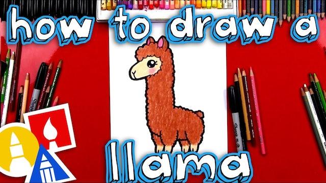 How To Draw A Cartoon Llama