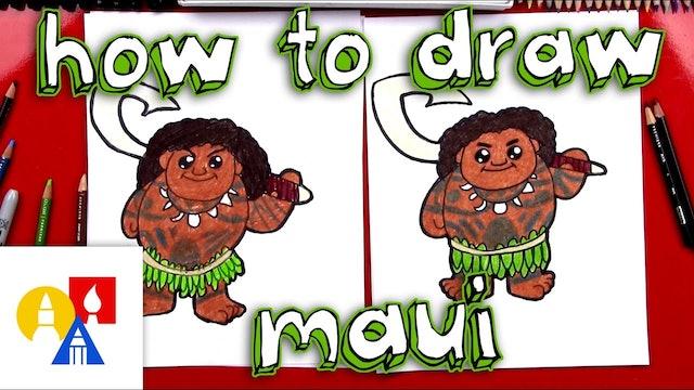 How To Draw A Cartoon Maui From Moana