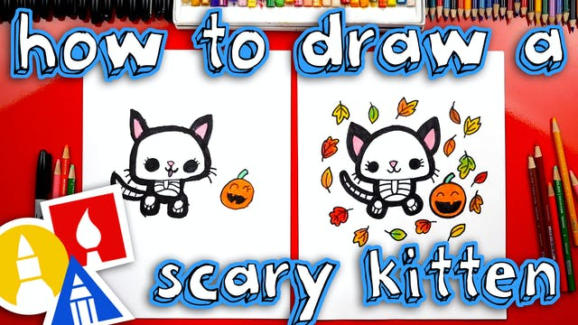 How To Draw A Scary Kitten Skeleton
