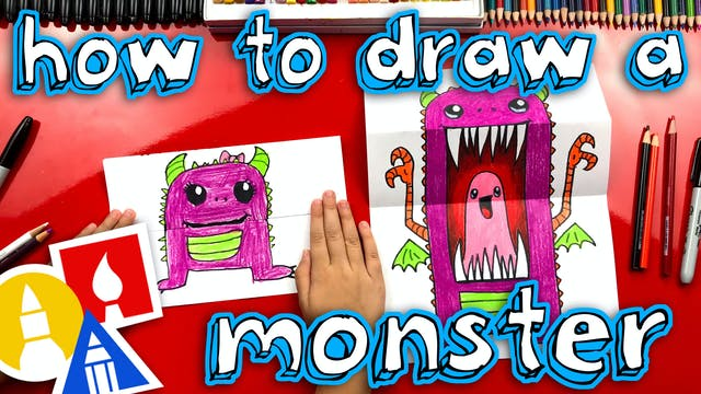How To Draw A Scary Cute Monster Fold...