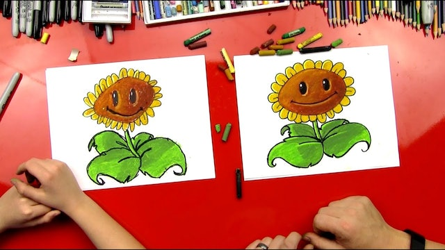 How To Draw A Sunflower From Plants vs. Zombies