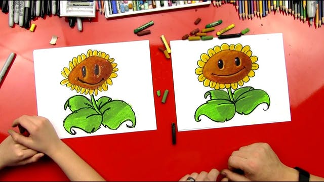 How To Draw A Sunflower From Plants v...