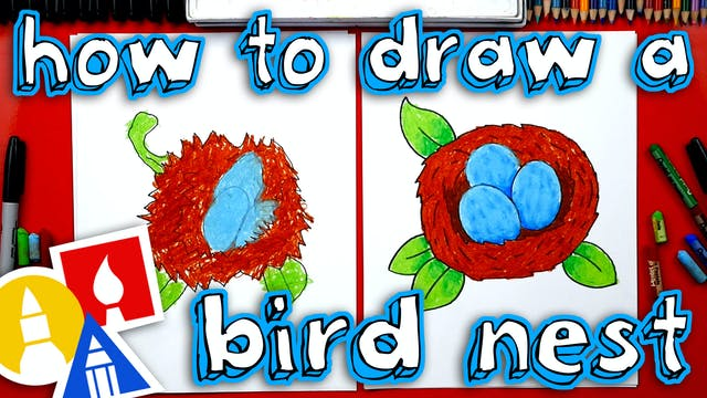 How To Draw A Bird Nest With Eggs