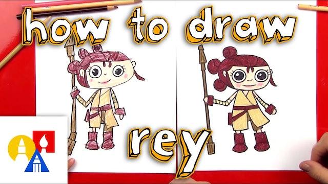 How To Draw Cartoon Rey From Star Wars