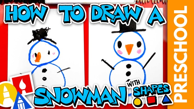 Drawing A Snowman With Shapes - Preschool