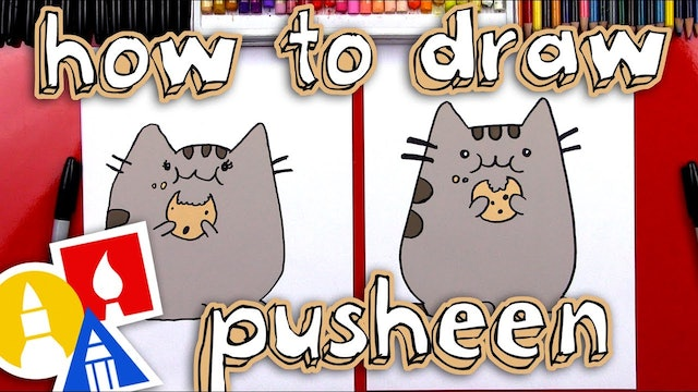 How To Draw The Pusheen Cat Eating A Cookie
