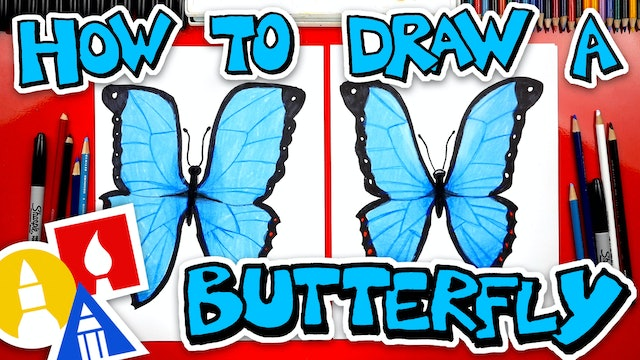 How To Draw Butterfly Emoji (Blue Morpho)