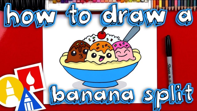 How To Draw A Banana Split Cartoon