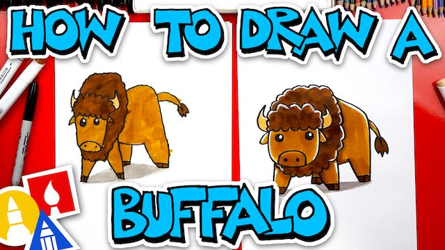 How To Draw A Cartoon Buffalo (Bison)