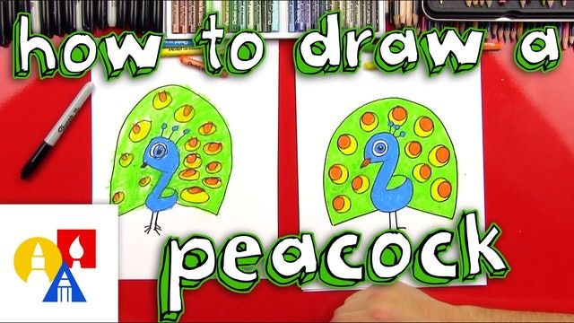 How To Draw A Cartoon Peacock for Young Artists