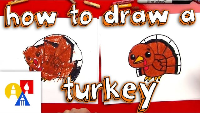 How To Draw A Cartoon Turkey