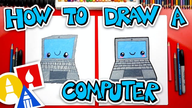 How To Draw A Funny Laptop Computer