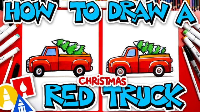 How To Draw A Red Christmas Truck Wit...