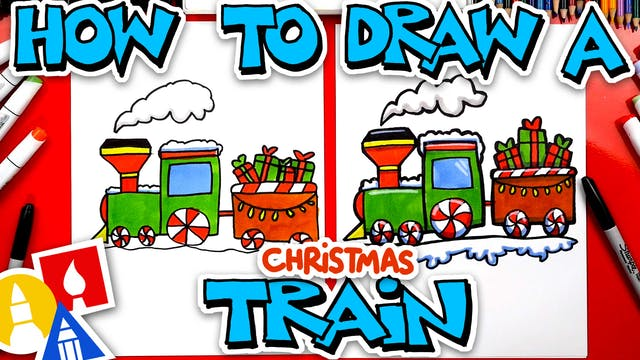 How To Draw A Christmas Train