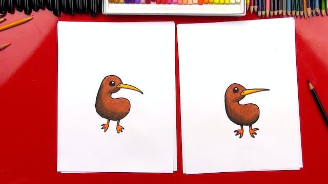 How To Draw A Cartoon Kiwi