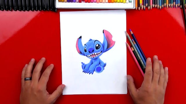 How To Draw Stitch With Colored Pencils