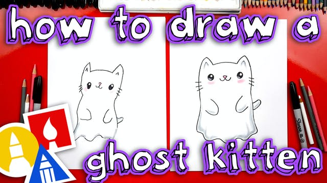 How To Draw A Ghost Kitten For Halloween