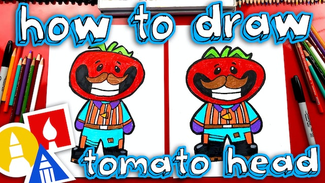 How To Draw Tomato Head Fortnite Skin cartoon