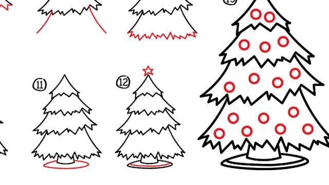 How To Draw A Christmas Tree (PRINTABLE)