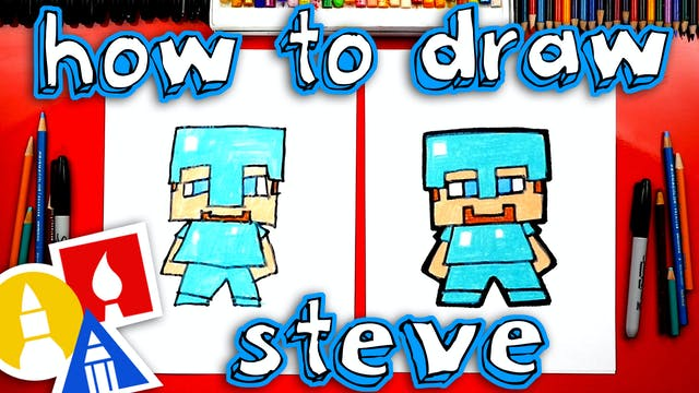 How To Draw Minecraft Steve With Diam...