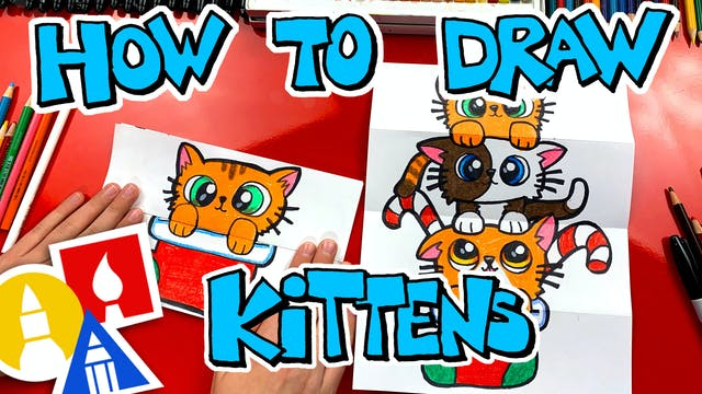 How To Draw A Christmas Kitten Stack ...