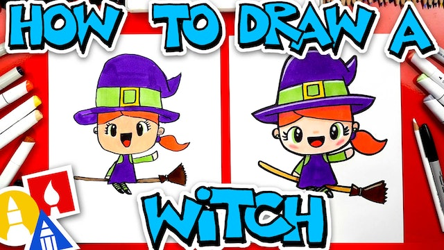 How To Draw A Cute Witch On A Broomstick