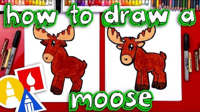 How To Draw A Cartoon Moose