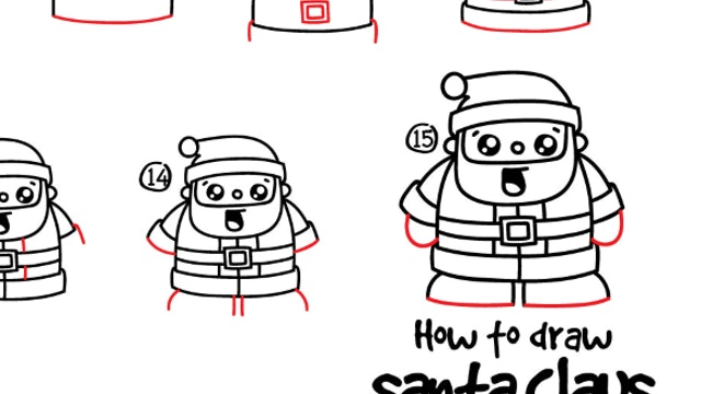 How To Draw Cartoon Santa Claus (PRINTABLE)