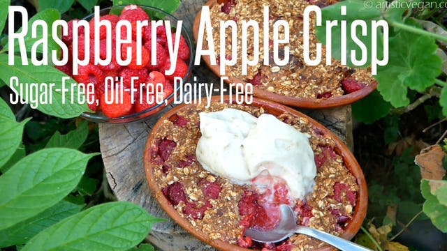 Sugar-Free Raspberry Apple Crisp - No Oil or Dairy a Healthy Treat!
