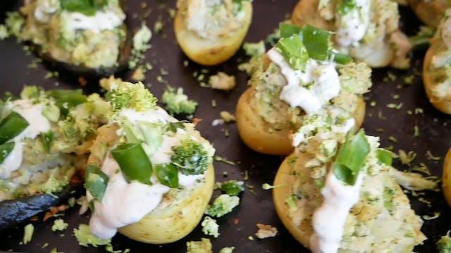 Vegan Broccoli Ranch Twice Baked Pota...