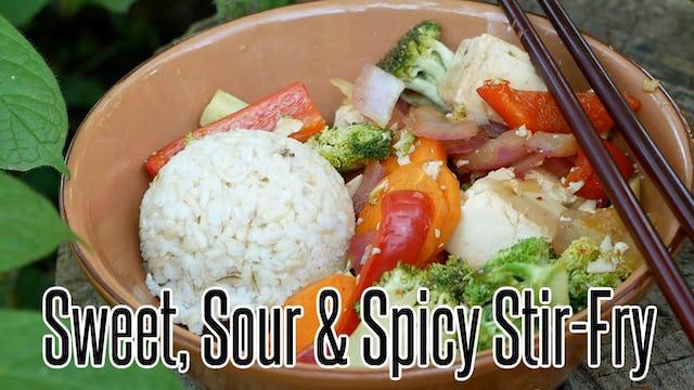Sweet, Sour & Spicy Stir-Fry (Vegan, Gluten-Free & Oil-Free)